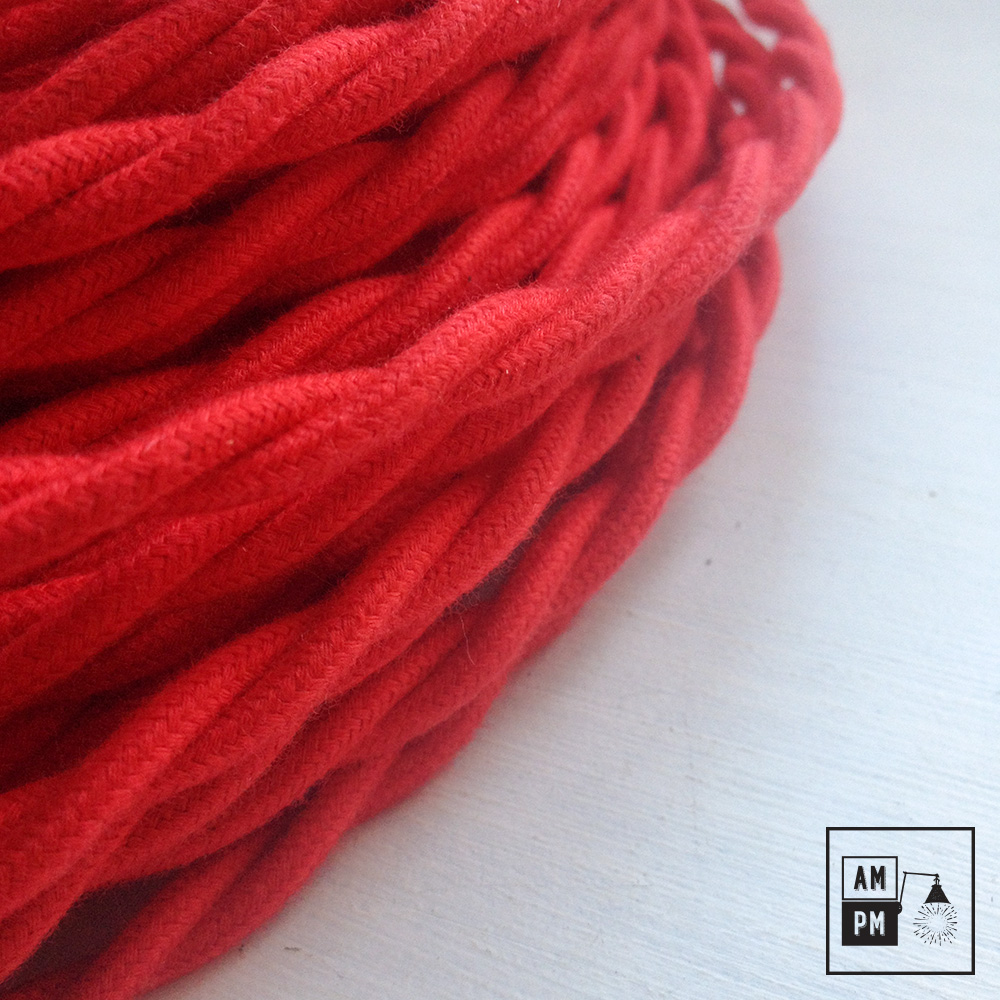 Fil Electrique Torsade Recouvert Coton Colore Rouge 3