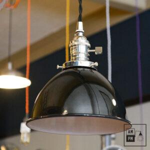 Abat-jour-metal-dome-industriel-noir