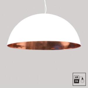 Abat-jour-moderne-metal-dome-blanc-cuivre
