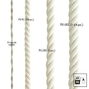 Fil électrique recouvert de coton blanc