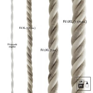 Fil électrique recouvert de lin naturel et coton