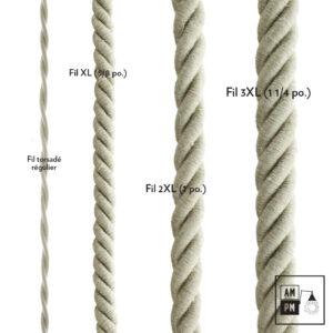 Fil électrique recouvert de lin naturel
