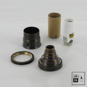 Culot antique pour ampoule Candelabra E12 avec anneau