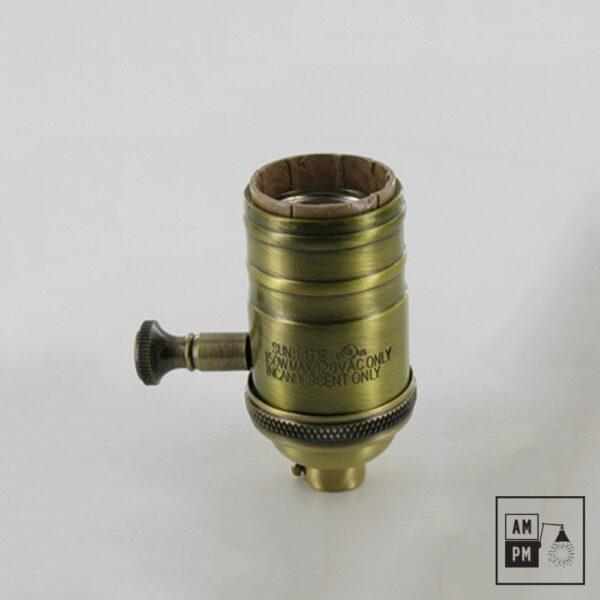 Culot métal pour ampoule standard E26 avec interrupteur réglable