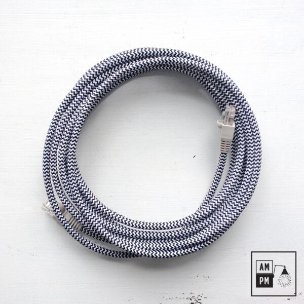 Fil câble Cat5e RJ45 recouvert de tissus coloré