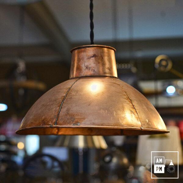 Abat-jour-rustique-naïf-hexagonal-cuivre-antique