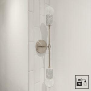 Applique-murale-en-marbre-sur-tiges-Rocher-A5M54-nickel-blanc